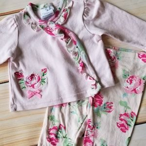 Laura Ashley Pink Ruffled Rose Print Outfit 0-3m